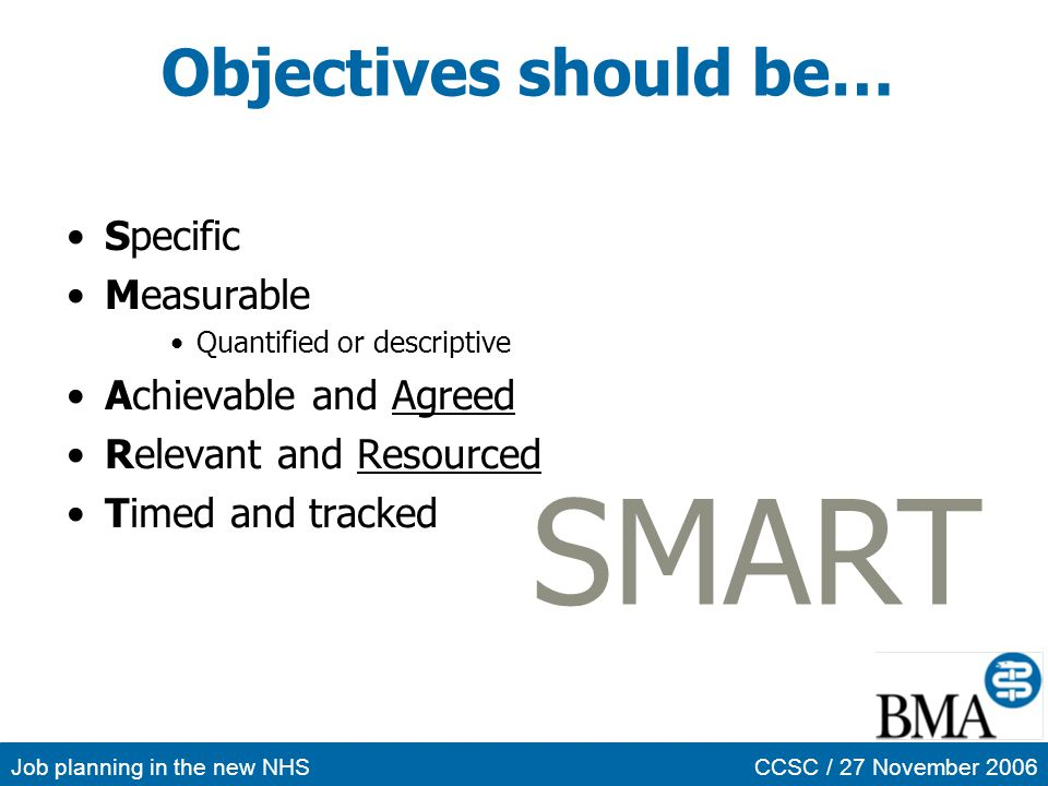 SMART Objectives should be… Specific Measurable Achievable and Agreed
