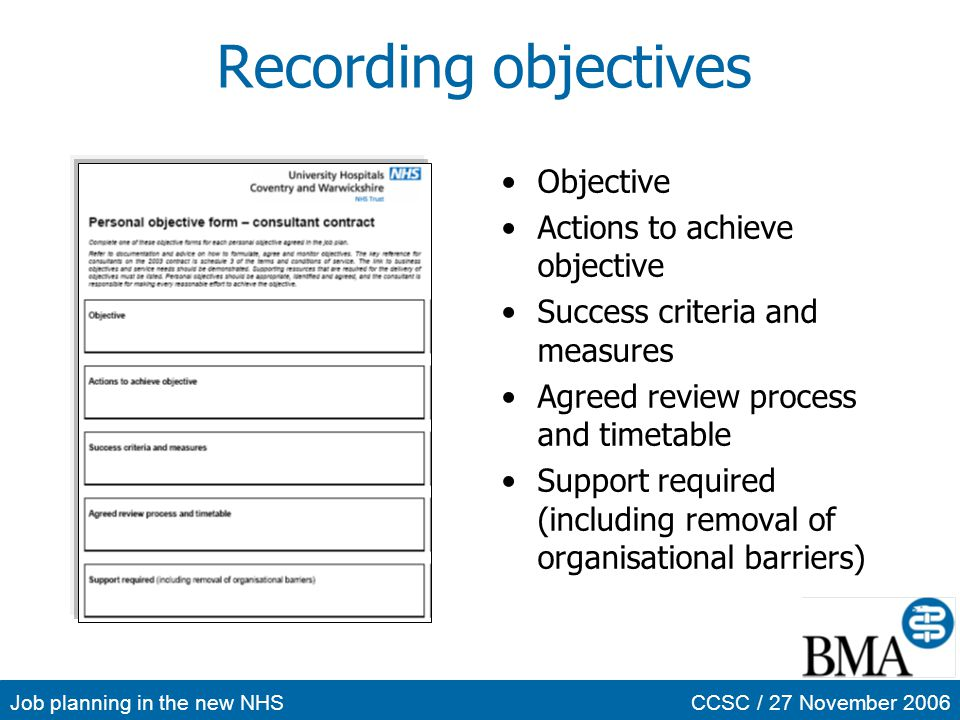 Recording objectives Objective Actions to achieve objective