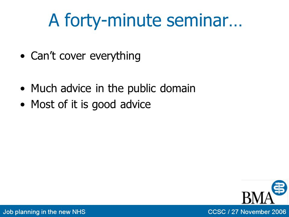 A forty-minute seminar…