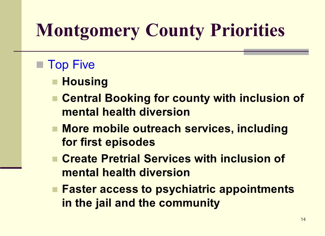 Montgomery County Priorities