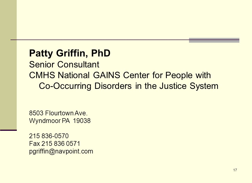 Patty Griffin, PhD Senior Consultant