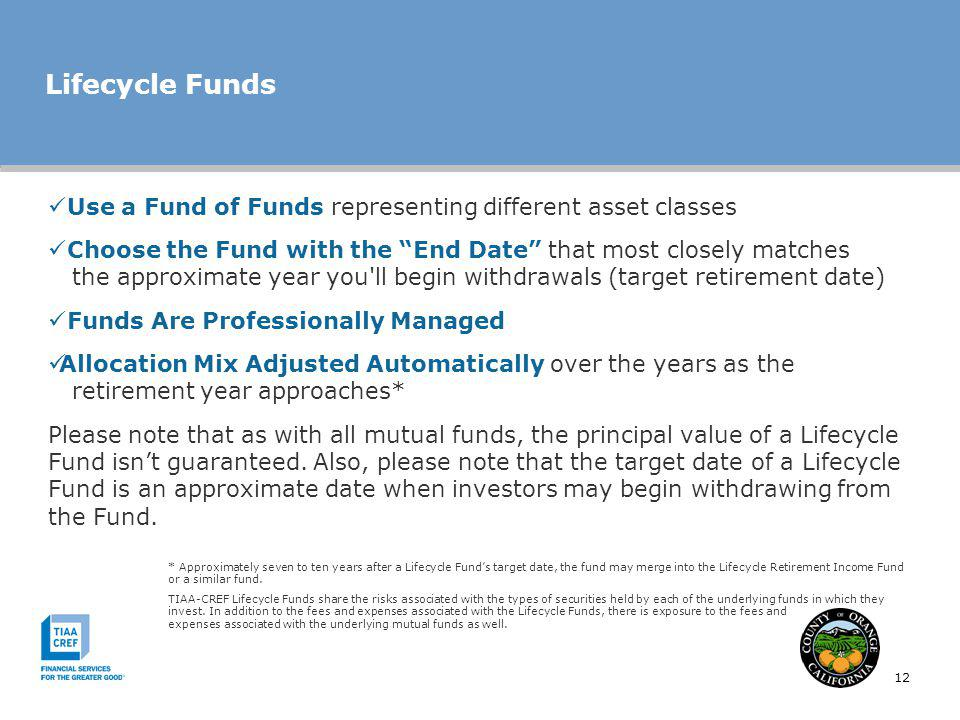 Lifecycle Funds Use a Fund of Funds representing different asset classes.