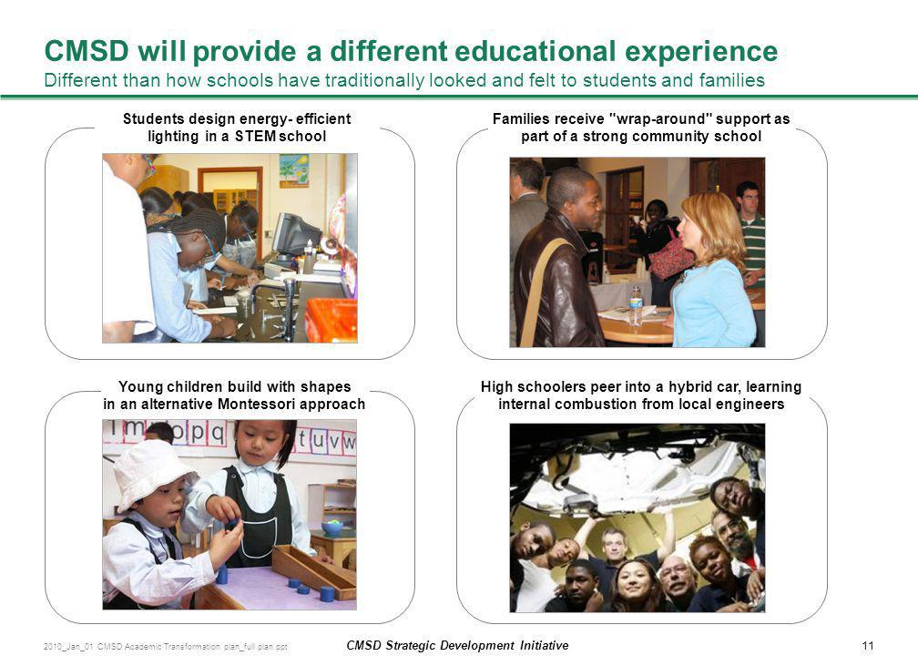 CMSD will provide a different educational experience Different than how schools have traditionally looked and felt to students and families