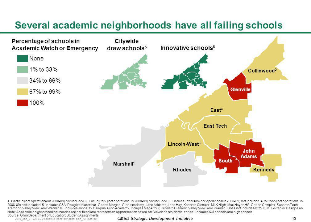 Several academic neighborhoods have all failing schools