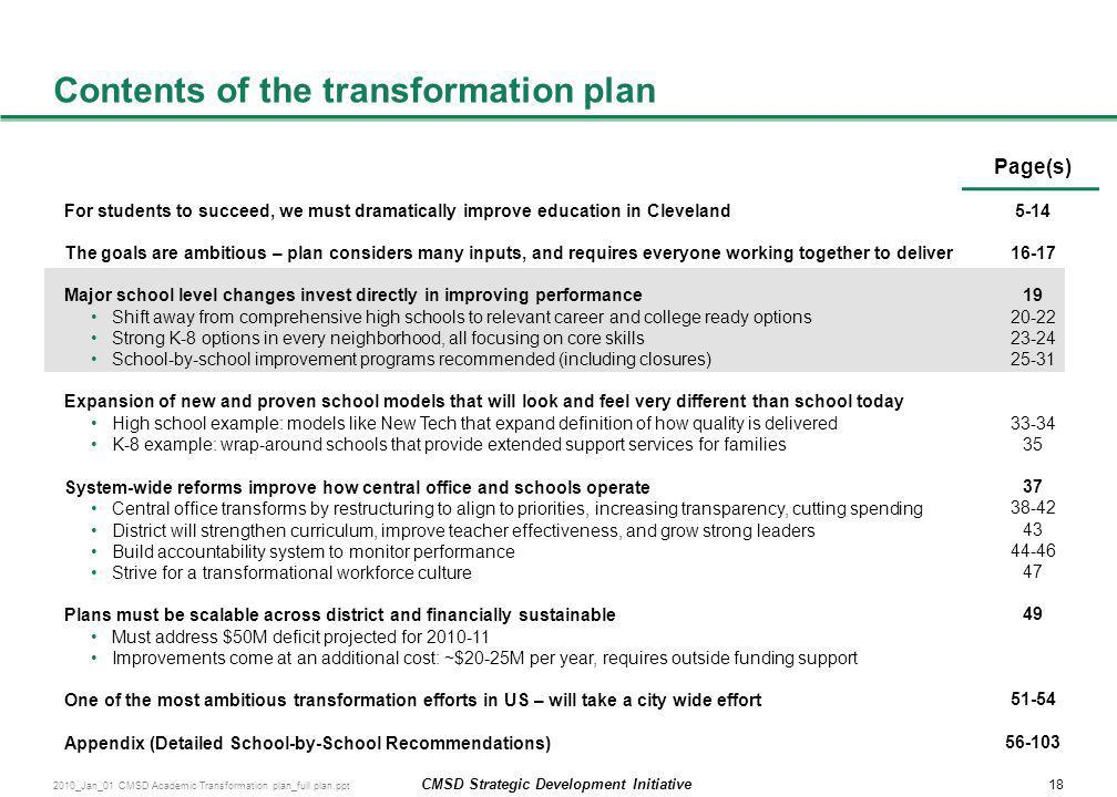 Contents of the transformation plan