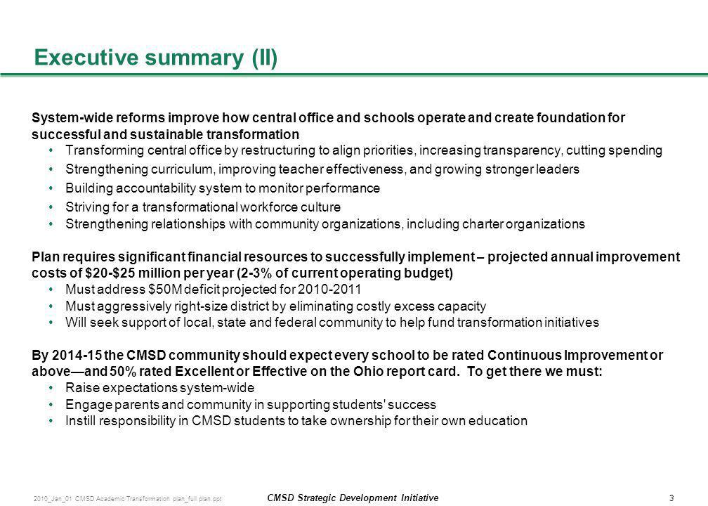 Executive summary (II)