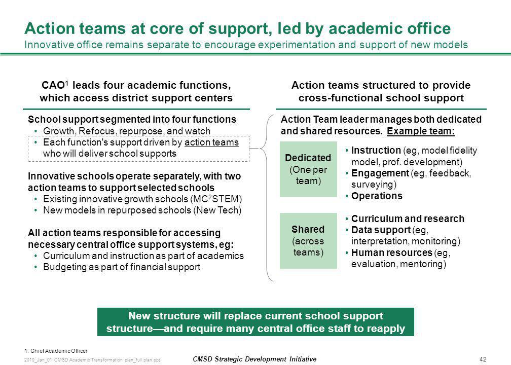 Action teams structured to provide cross-functional school support