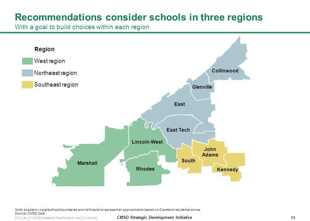 Recommendations consider schools in three regions With a goal to build choices within each region
