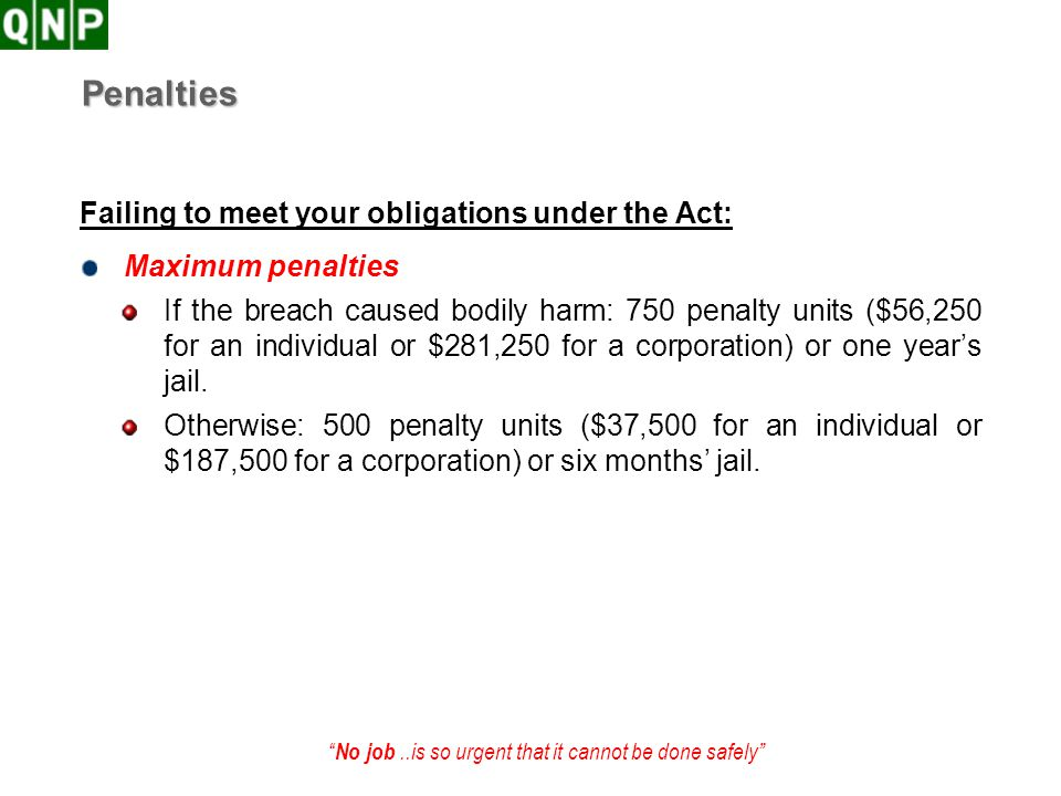 Penalties Failing to meet your obligations under the Act: