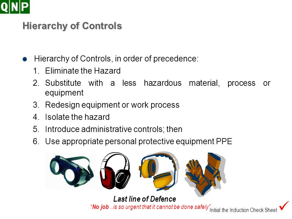 Hierarchy of Controls Hierarchy of Controls, in order of precedence: