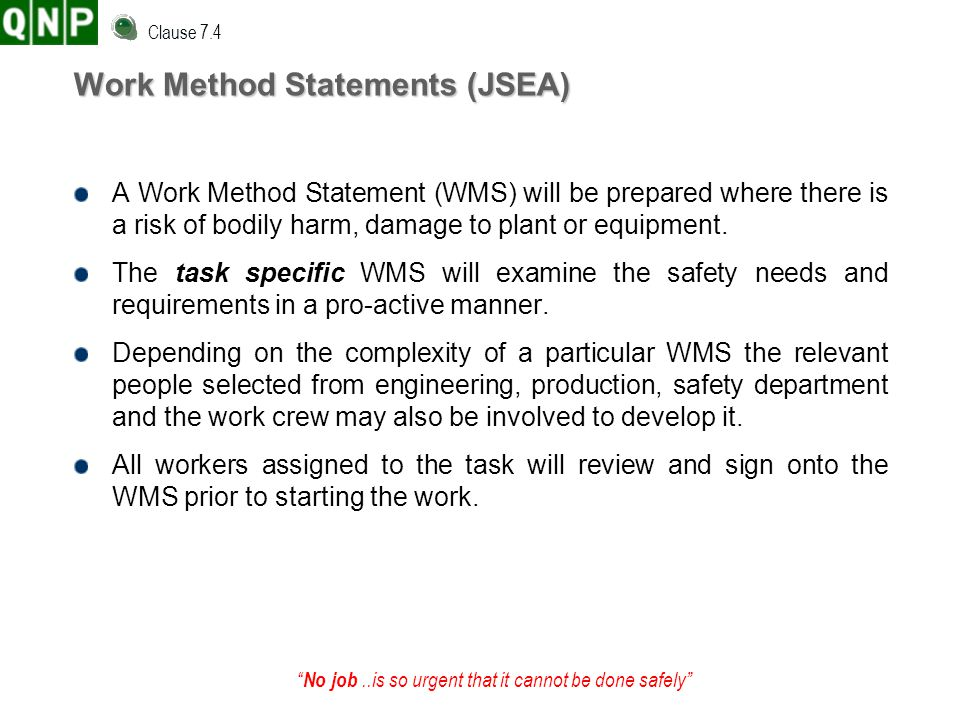 Work Method Statements (JSEA)