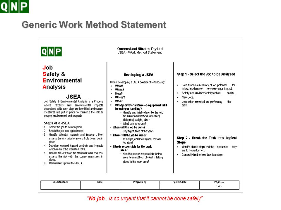 Generic Work Method Statement