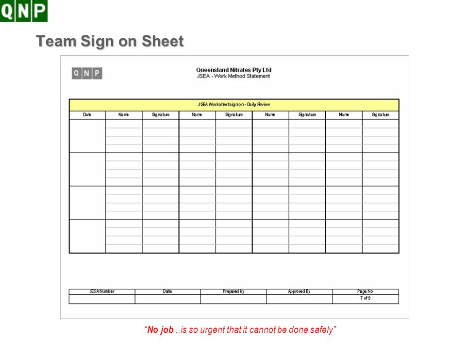 Team Sign on Sheet