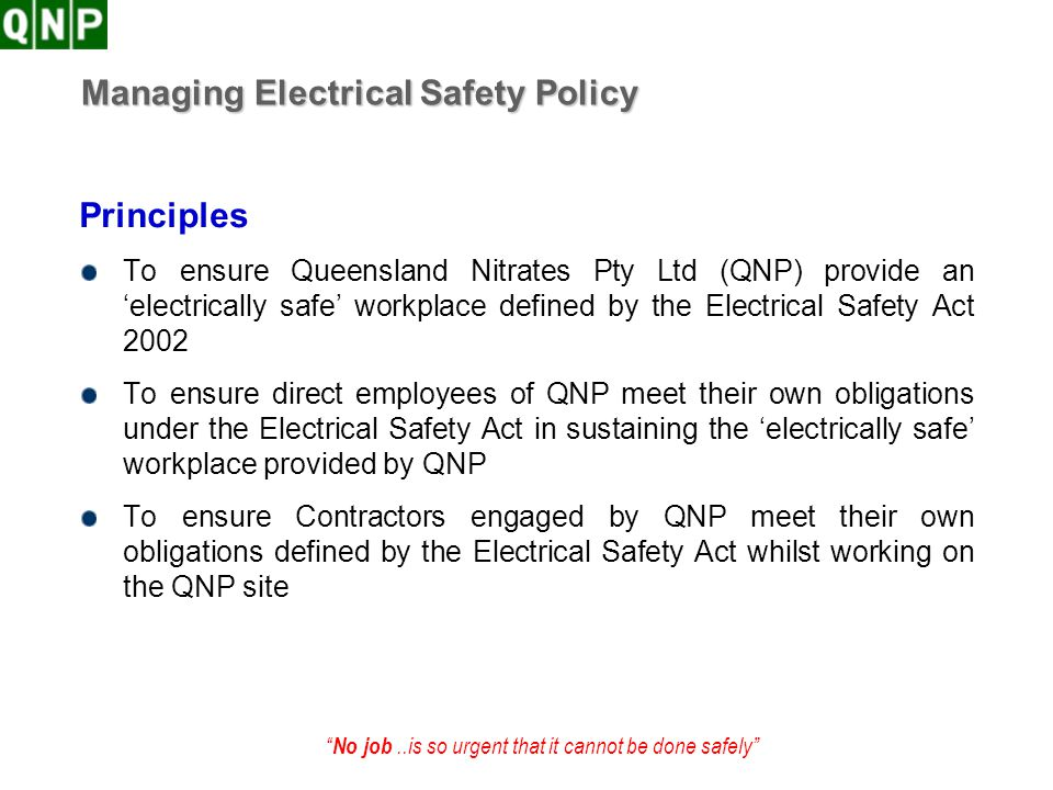 Managing Electrical Safety Policy