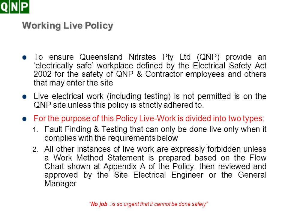 Working Live Policy