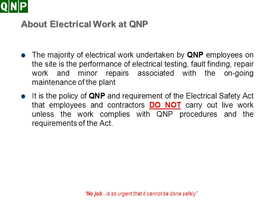 About Electrical Work at QNP
