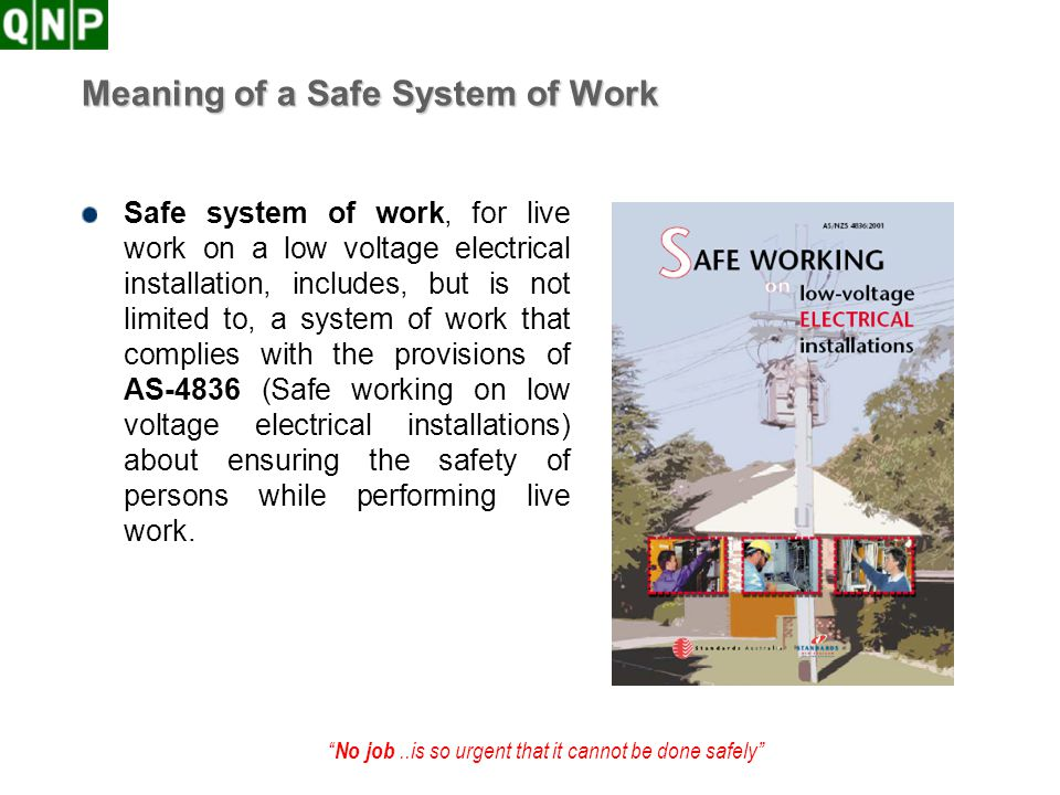 Meaning of a Safe System of Work