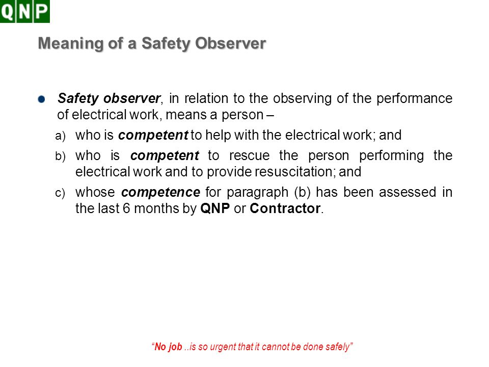 Meaning of a Safety Observer