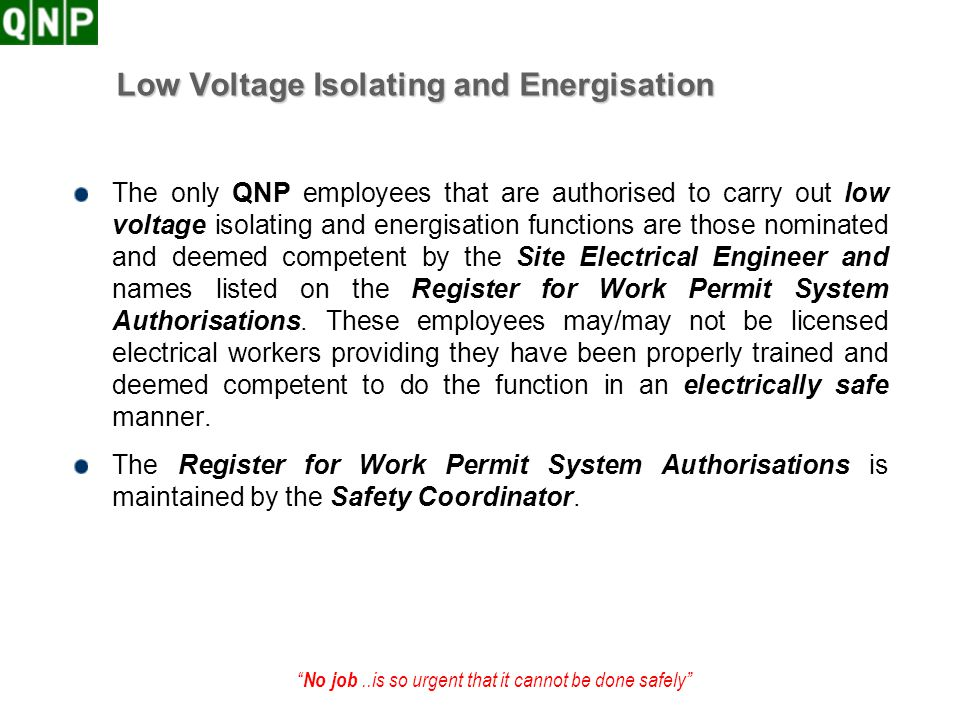 Low Voltage Isolating and Energisation