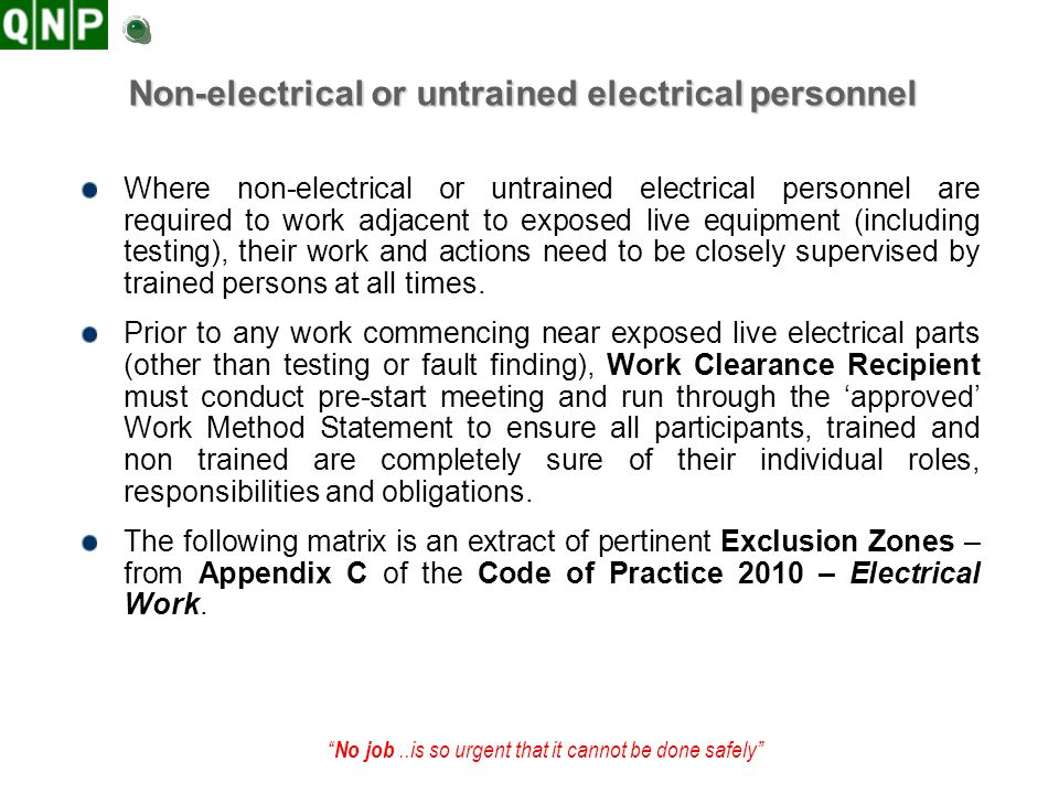 Non-electrical or untrained electrical personnel