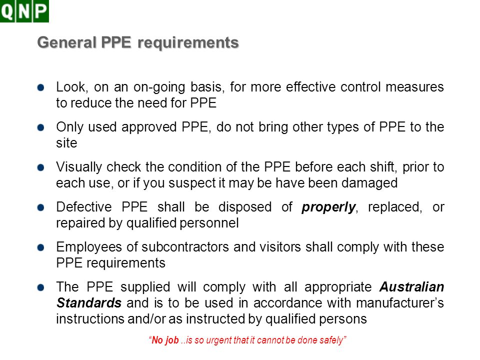 General PPE requirements