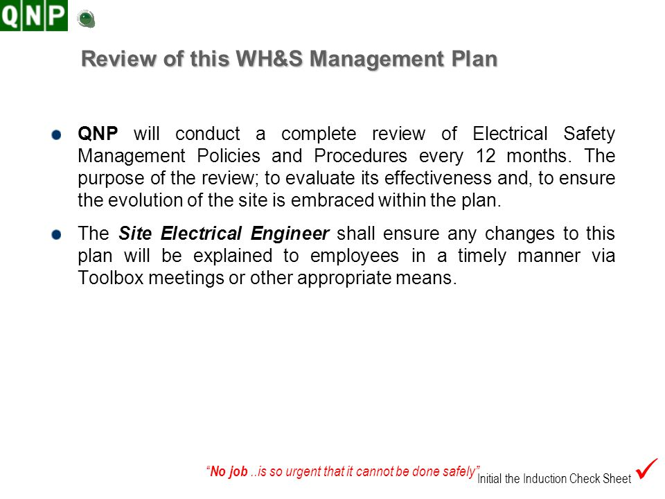Review of this WH&S Management Plan
