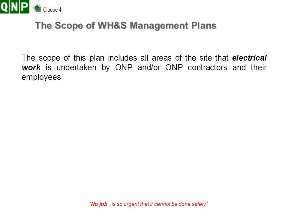 The Scope of WH&S Management Plans