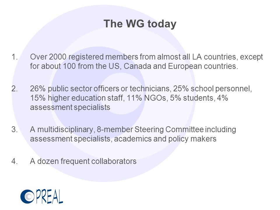 The WG today Over 2000 registered members from almost all LA countries, except for about 100 from the US, Canada and European countries.