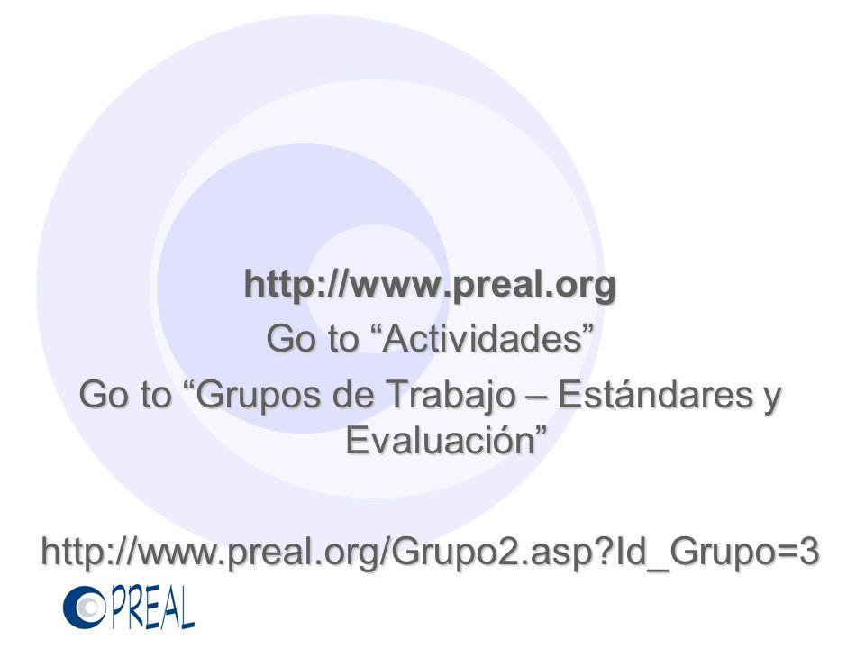 Go to Grupos de Trabajo – Estándares y Evaluación