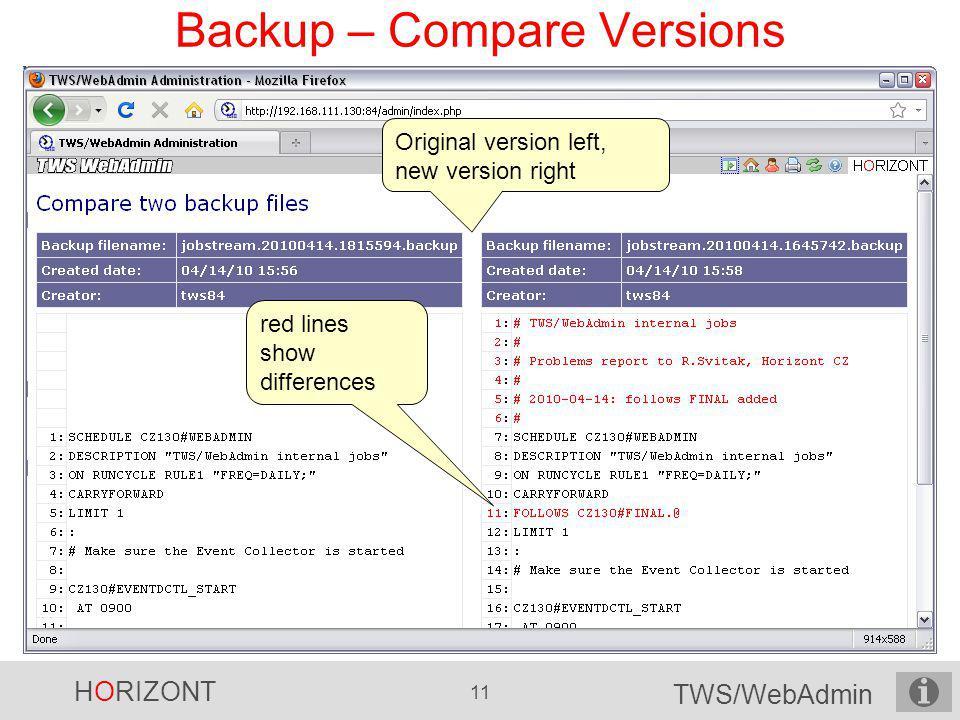 Backup – Compare Versions