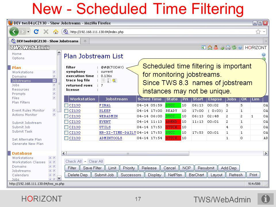 New - Scheduled Time Filtering