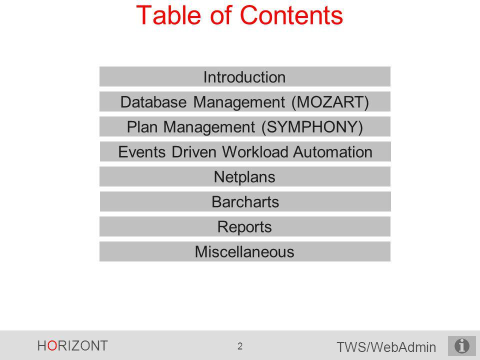 Table of Contents Introduction Database Management (MOZART)