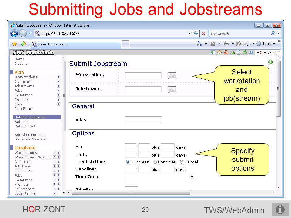 Submitting Jobs and Jobstreams