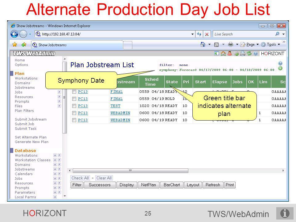 Alternate Production Day Job List