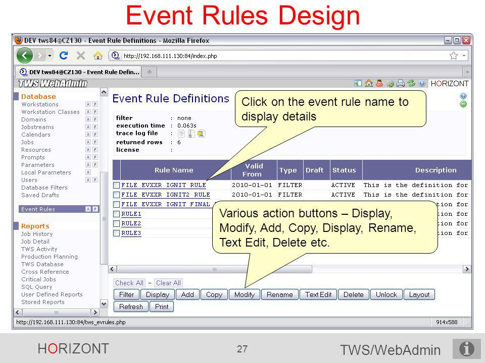 Event Rules Design Click on the event rule name to display details