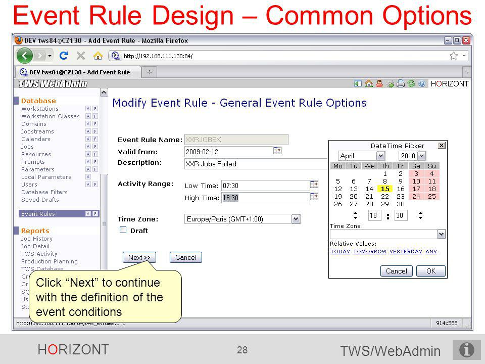 Event Rule Design – Common Options