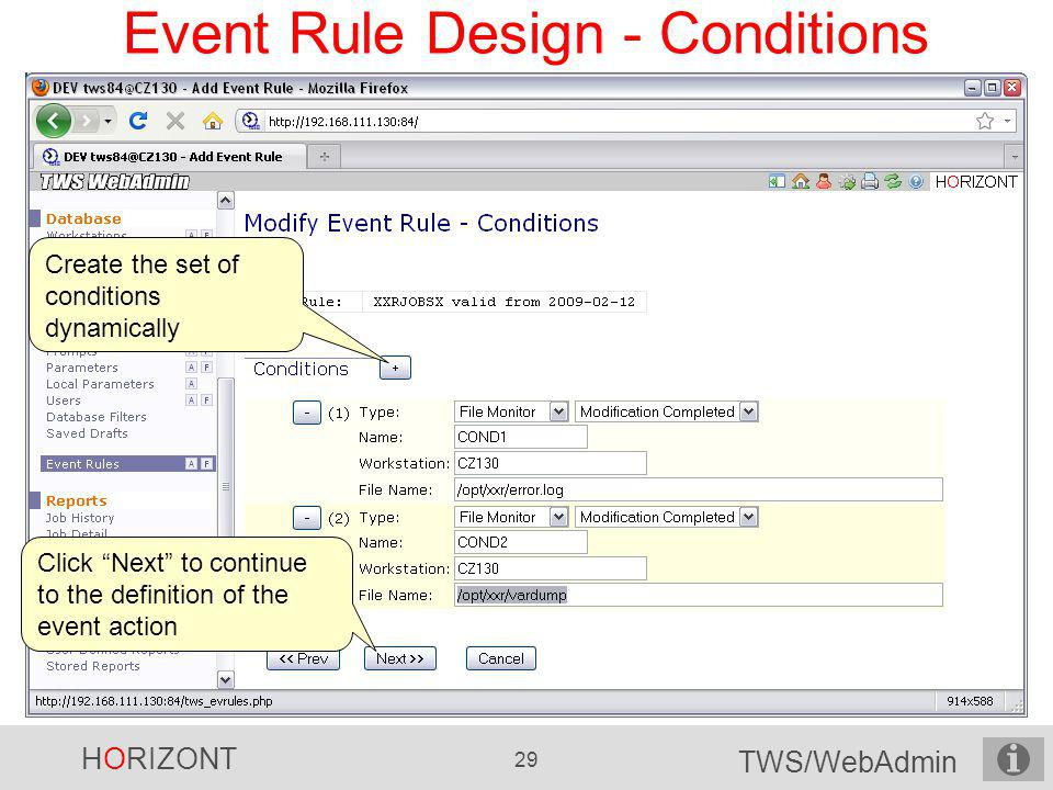 Event Rule Design - Conditions