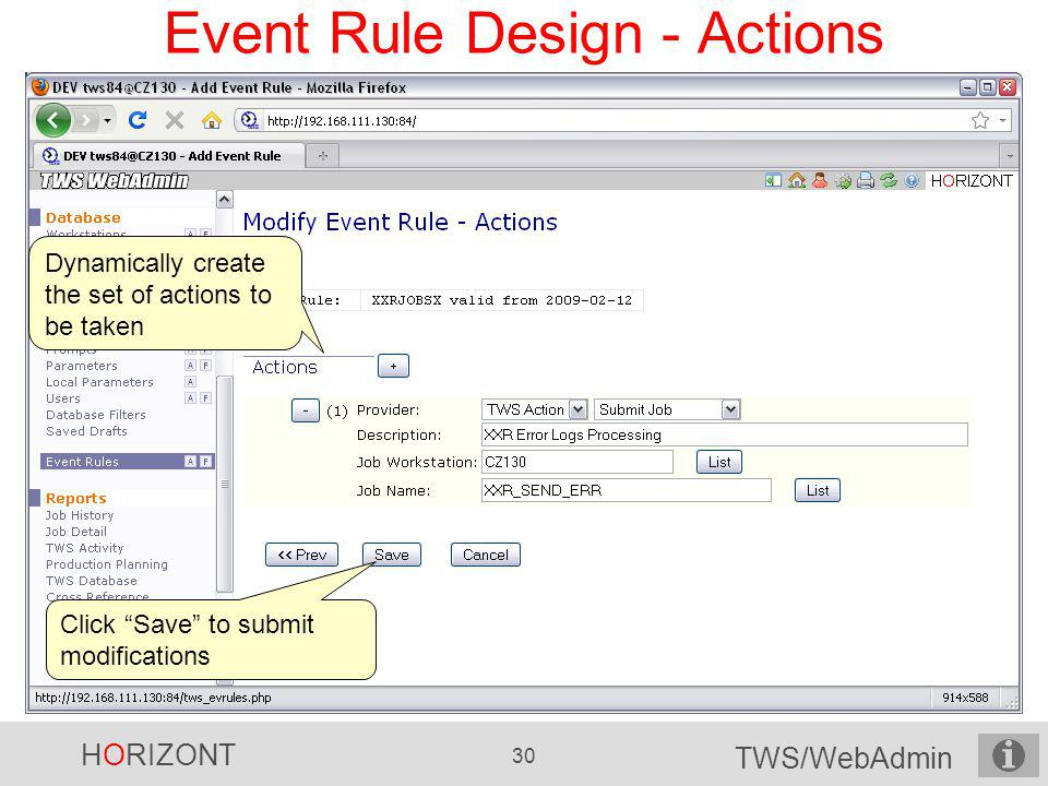 Event Rule Design - Actions