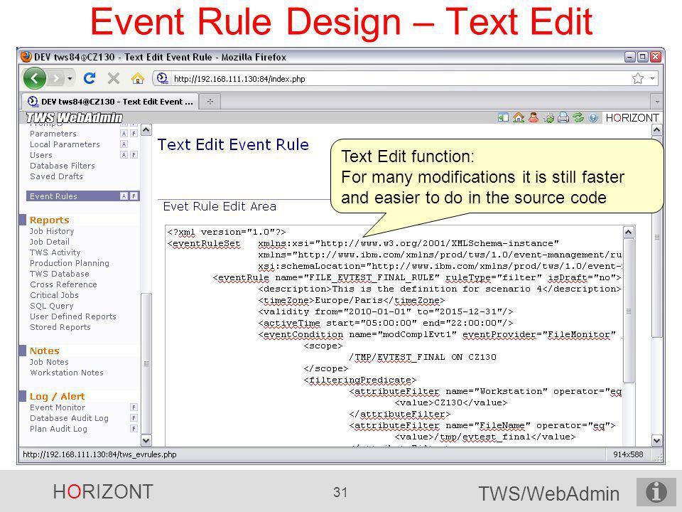 Event Rule Design – Text Edit