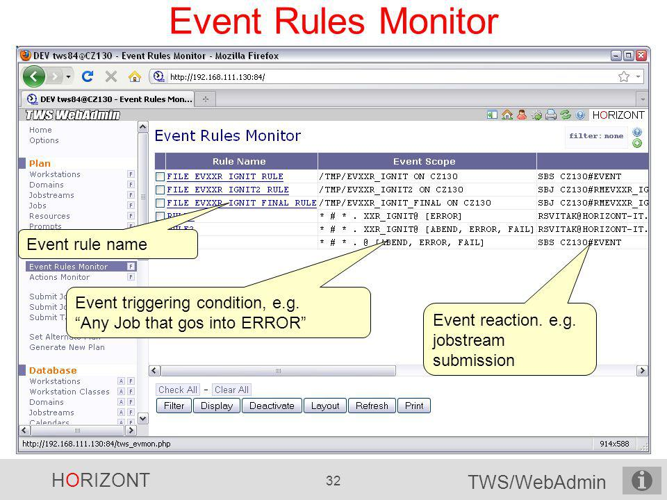 Event Rules Monitor Event rule name