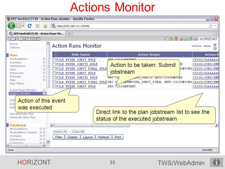 Actions Monitor Action to be taken: Submit jobstream