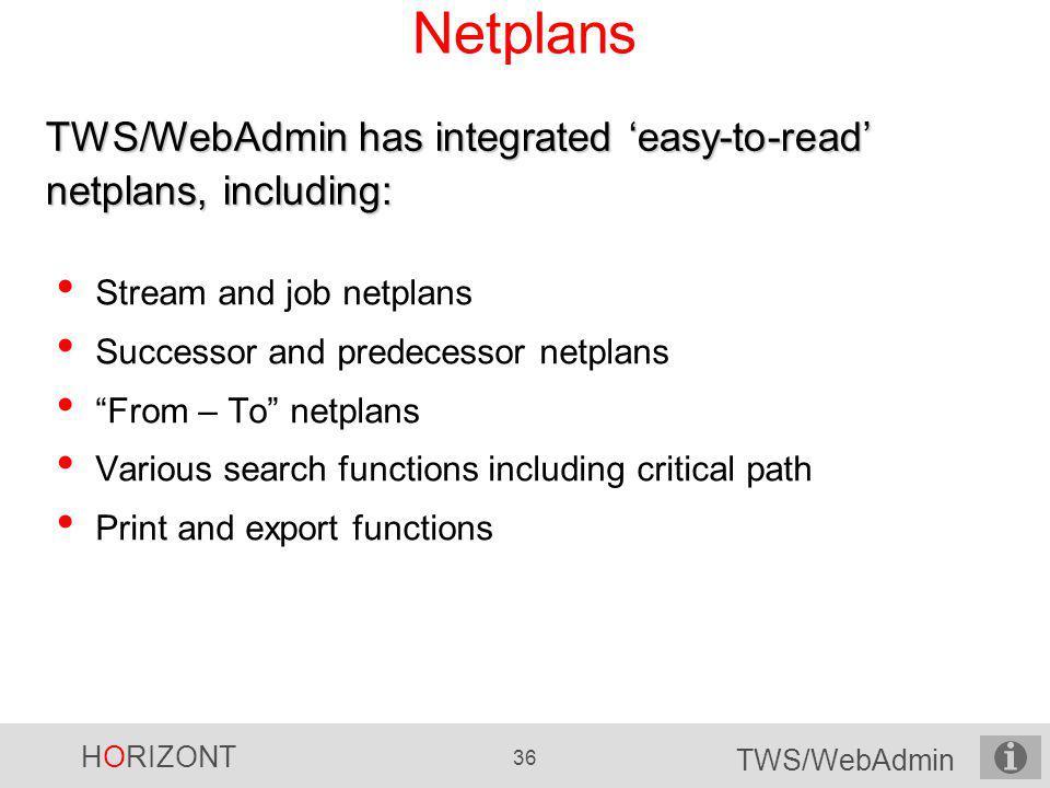 Netplans TWS/WebAdmin has integrated 'easy-to-read' netplans, including: Stream and job netplans. Successor and predecessor netplans.