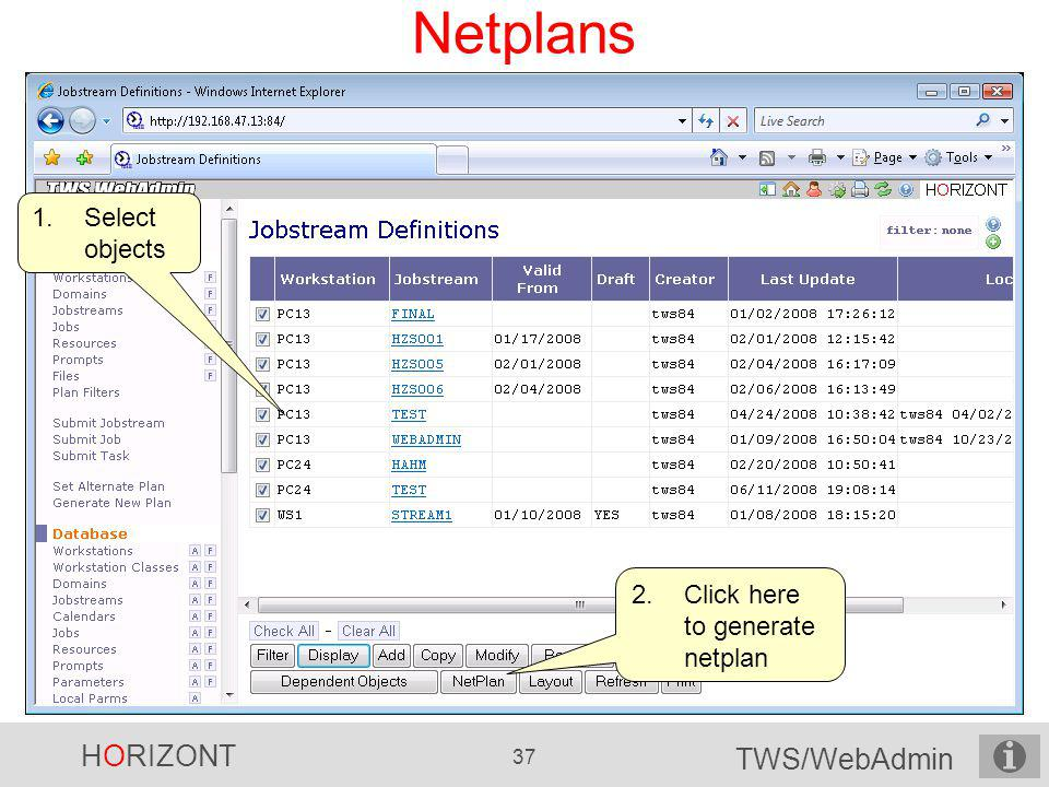 Netplans Select objects Click here to generate netplan