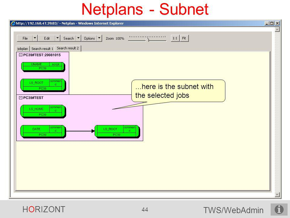 Netplans - Subnet ...here is the subnet with the selected jobs