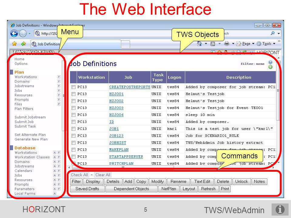 The Web Interface Menu TWS Objects Commands