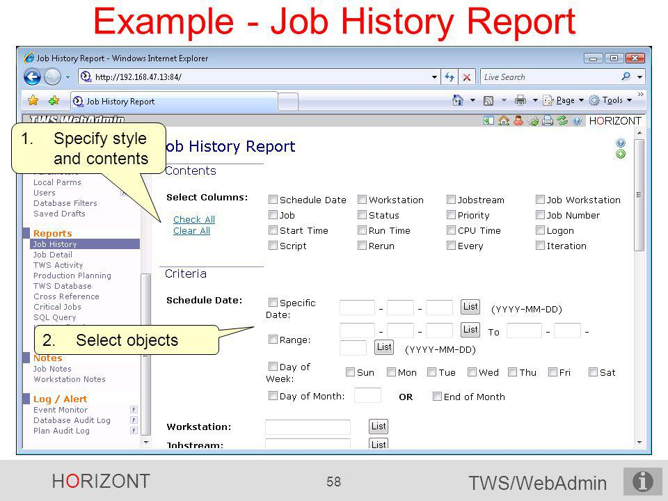 Example - Job History Report