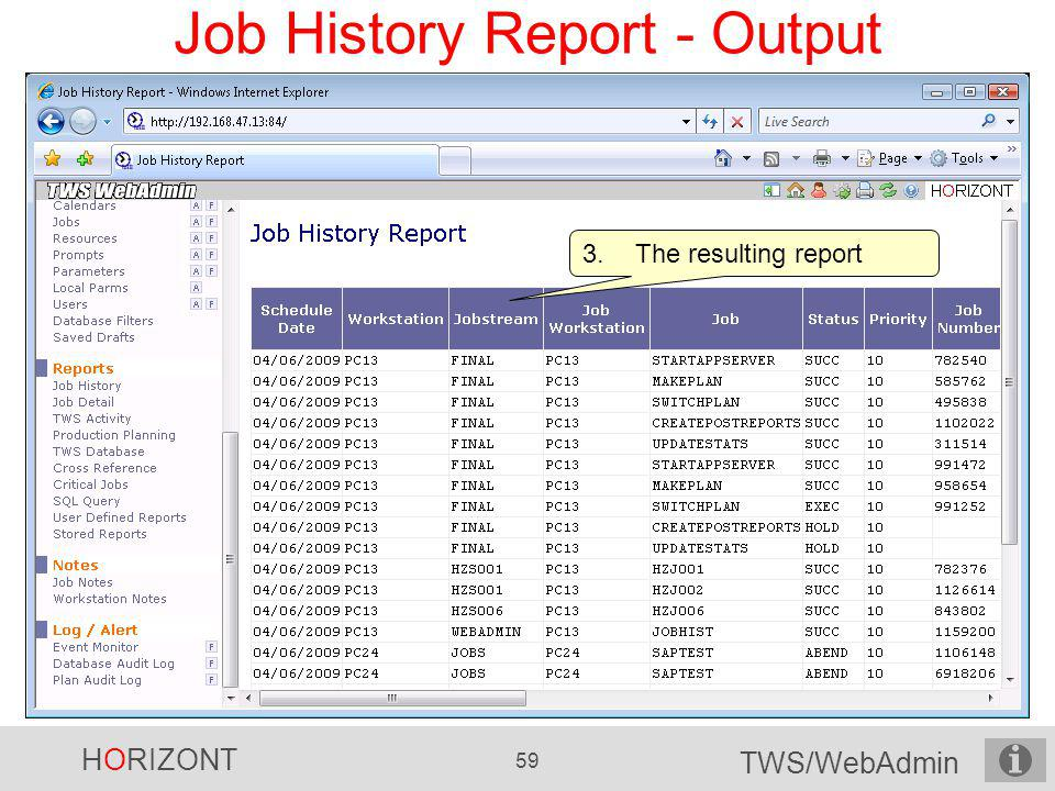 Job History Report - Output