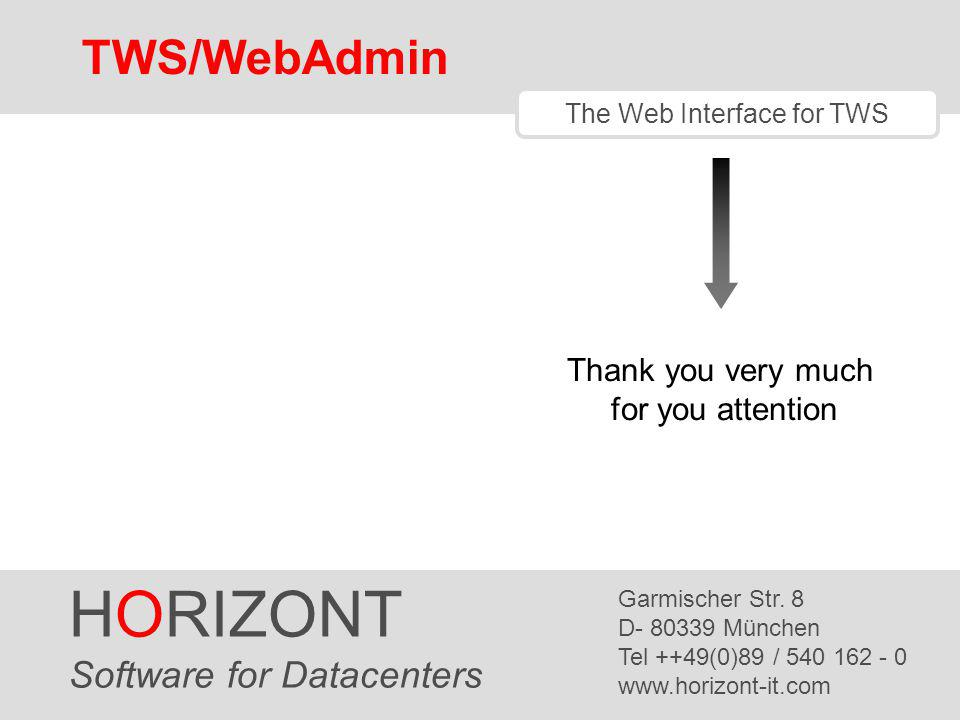 HORIZONT TWS/WebAdmin Software for Datacenters