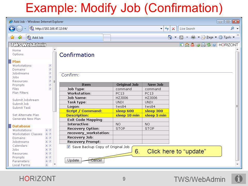 Example: Modify Job (Confirmation)