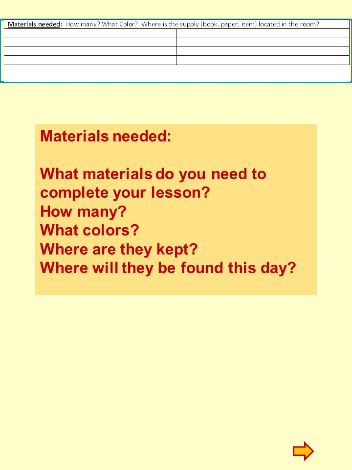 Materials needed: What materials do you need to complete your lesson How many What colors Where are they kept
